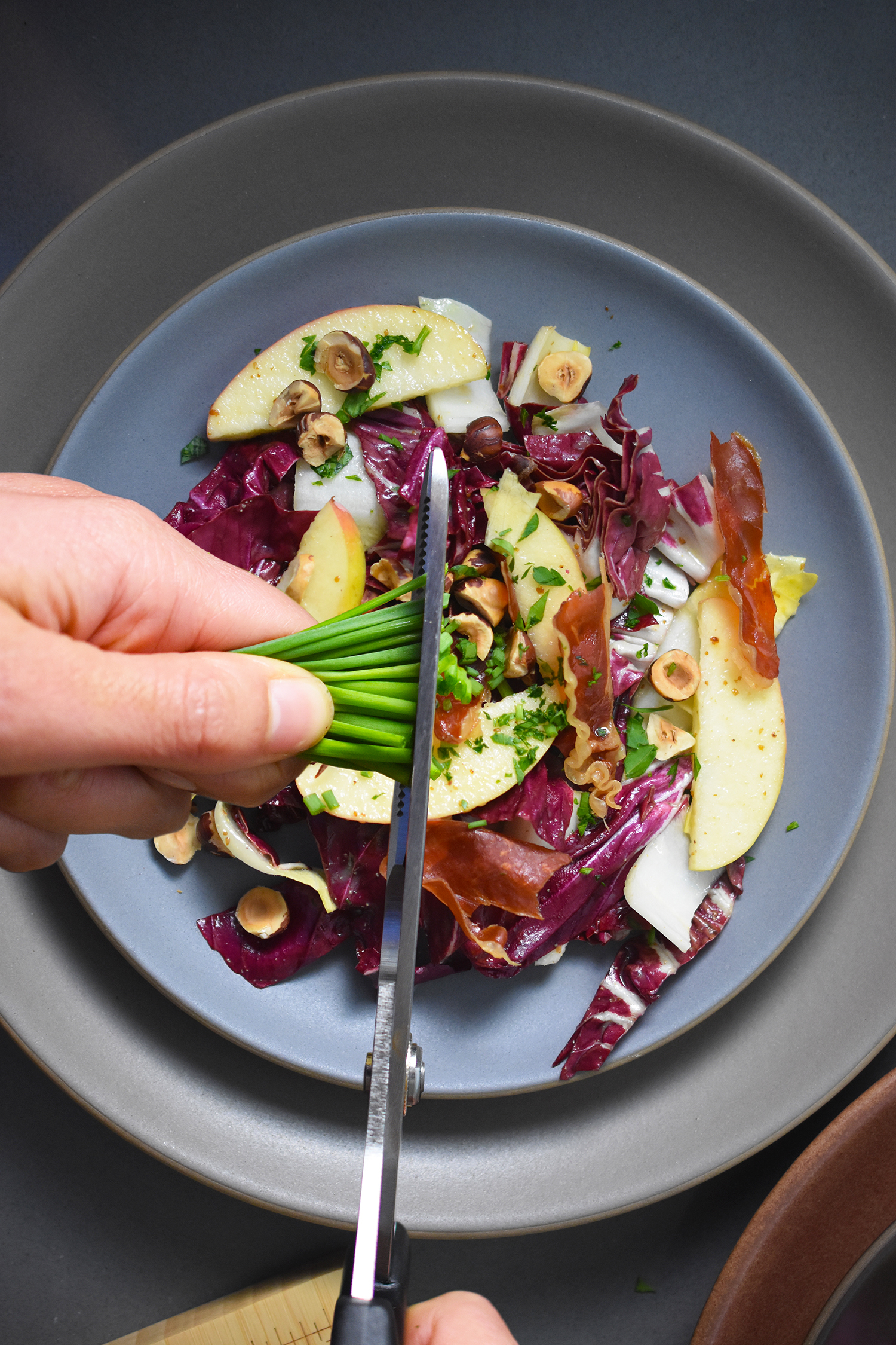 Endive, Radicchio, and Apple Salad with Porkitos and Hazelnuts by Michelle Tam http://nomnompaleo.com
