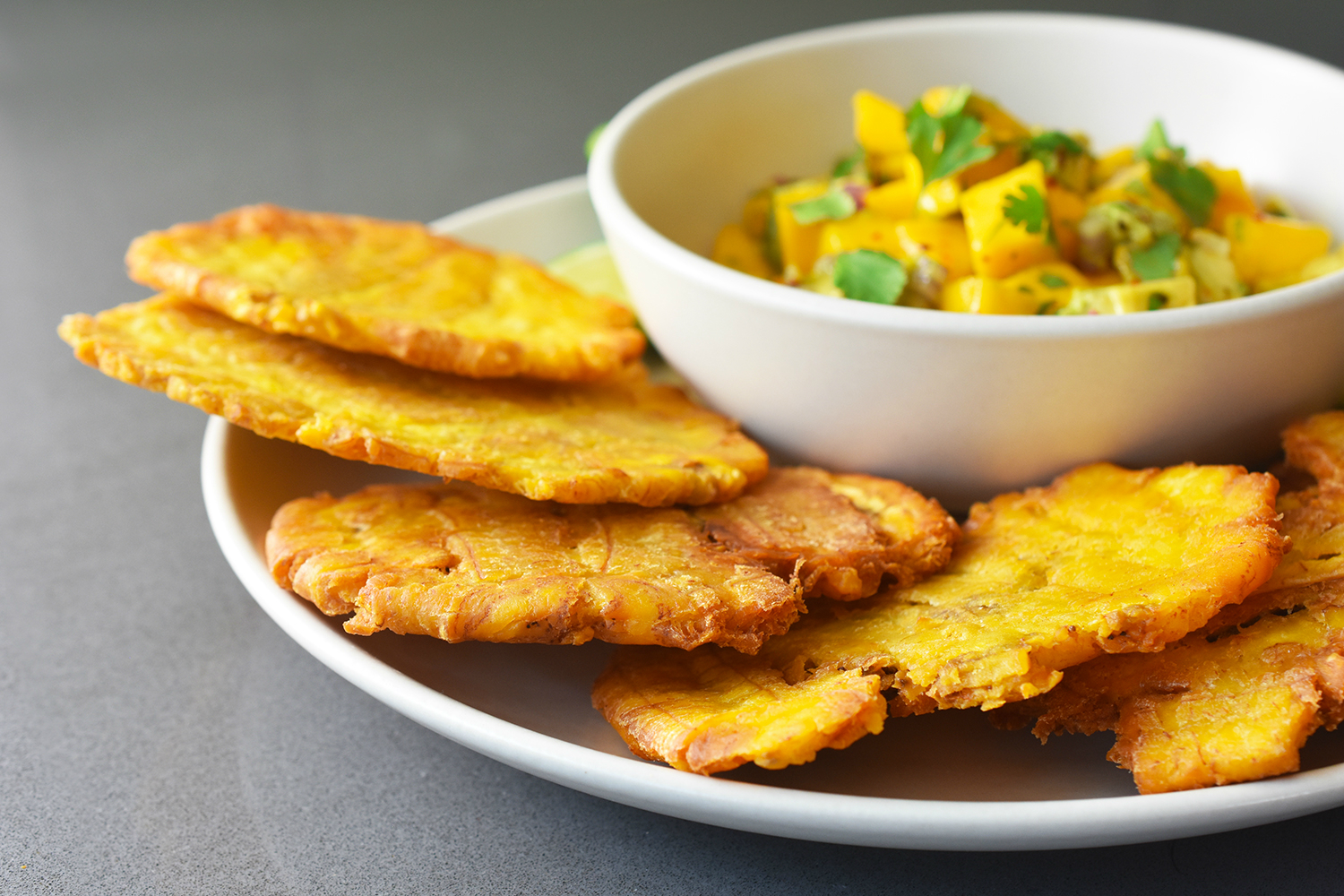 Fried Green Plantains + Mango Avocado Salsa by Michelle Tam http ...